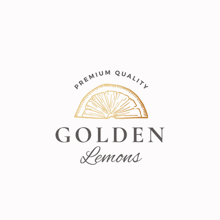 Golden Lemons Abstract Vector Sign, Symbol or Logo Template. Hand Drawn Lemon Slice Sketch Sillhouette with Retro Typography. Vintage Luxury Emblem.