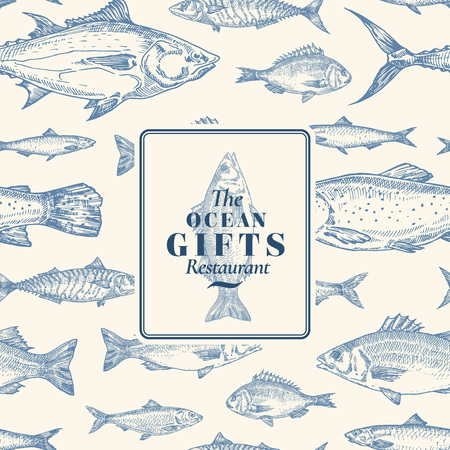 Hand Drawn Vector Seamless Pattern. Fish Package Card or Cover Template with Sea Bass Ocean Gifts Emblem. Herring, Anchovy, Tuna, Dorado, Seabass and Salmon Background. Ilustrace