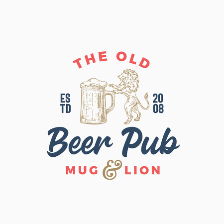 The Old Beer Pub or Bar Abstract Vector Sign, Symbol or Logo Template. Hand Drawn Beer Mug and Lion Sillhouette with Retro Typography. Vintage Emblem.