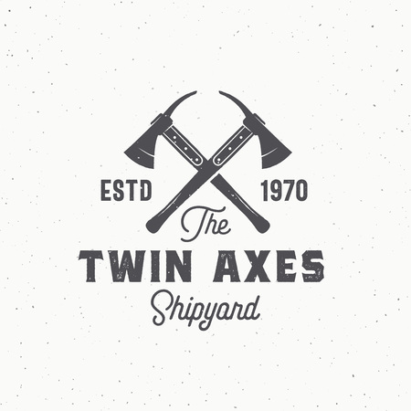 Twin Axes Abstract Vector Sign, Symbol or Logo Template. Crossed Ship Axes and Retro Typography. Vintage Emblem with Shabby Textures. Archivio Fotografico - 121637475
