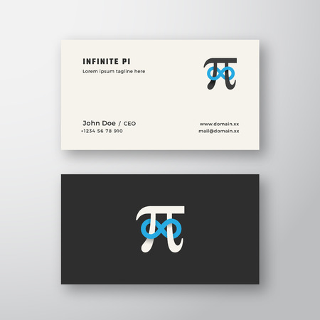 Pi Symbol with Infinity Sign Abstract Vector Sign or Logo and Business Card Template. Premium Stationary Realistic Mock Up.