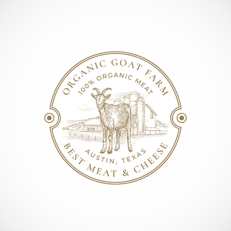 Milk and Cheese Farm Framed Retro Badge or Logo Template. Hand Drawn Goat and Farm Landscape Sketch with Retro Typography. Vintage Sketch Emblem.