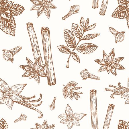 Disegnato a mano anice, menta, cannella, chiodi di garofano e vettore di vaniglia Seamless Pattern di sfondo. Scheda di schizzi di spezie o modello di copertina.