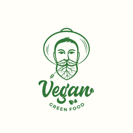 Vegan Green Food Abstract Vector Sign, Symbol or Logo Template. Young Man in Gardener Hat. Face with Leaves Incorporated in Beard and Moustache. Vegetarian Emblem Hipster Concept. Ilustracja