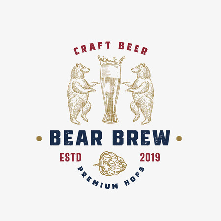 Craft Beer Abstract Vector Sign, Symbol or Logo Template. Hand Drawn Beer Glass with Foam Crown, Bears and Hop Sketch Sillhouette with Rustic Retro Typography. Vintage Emblem. Illustration
