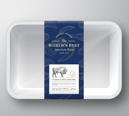 Worlds Best Bison Abstract Vector Plastic Tray Container Cover. Premium Meat Packaging Design Label Layout. Hand Drawn Buffalo Bull, Steak, Sausage, Wings and Legs Sketch Pattern Background. Ilustracja