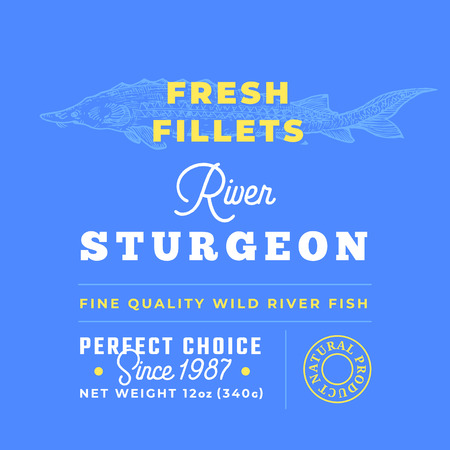 Fresh Fillets Premium Quality Label . Abstract Vector Fish Packaging Design Layout. Retro Typography with Borders and Hand Drawn Sturgeon or Beluga Silhouette Background.