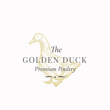 The Golden Duck Abstract Vector Sign, Symbol or Logo Template. Hand Drawn Domestic Bird Sillhouette with Retro Typography. Vintage Luxury Vector Emblem.