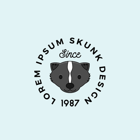 Line Style Skunk Face with Retro Typography. Abstract Vector Sign, Symbol or Logo Template. Cartoon Silhouette.