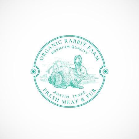 Rabbit Farm gerahmte Retro-Abzeichen oder Logo-Vorlage. Handgezeichnete Hase oder Hase und Bauernhof Landschaftsskizze mit Retro-Typografie. Vintage-Skizze-Emblem. Logo