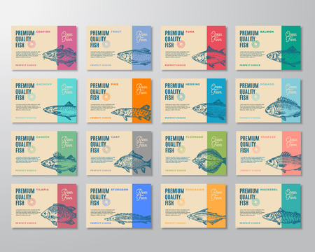Sixteen Premium Quality Fish Labels Set. Abstract Vector Packaging Design or Label. Modern Typography and Hand Drawn Fish Sketch Silhouettes Background Layouts with Soft Shadows. Isolated.