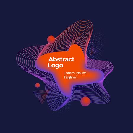 Abstract Vector Geometric Liquid Banner, Emblem or Logo Template. Creative Decoration for Season Sale Posters. Dark Background Çizim