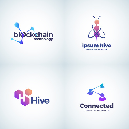 Blockchain Technology Absrtract Vector Signs, Symbols or Logo Templates Collection. Bee Hive Connection and Coworking Gradient Icons with Modern Typography.