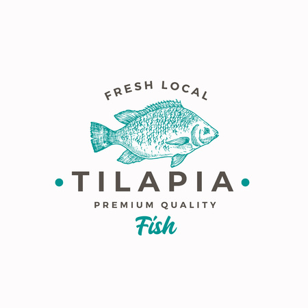 Fresh Local Tilapia. Abstract Vector Sign, Symbol or Logo Template. Hand Drawn Fish Sketch Silhouette with Modern Typography. Vintage Vector Emblem.
