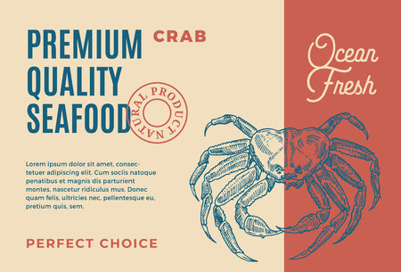 Premium Quality Seafood. Abstract Vector Packaging Design or Label. Modern Typography and Hand Drawn Crab Silhouette Background Layout