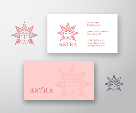 Astra Abstract Vector Logo and Business Card Template. Star Silhouette as a Beautiful Woman Face with Curly Hair. Premium Stationary Realistic Mock Up. Ilustrace