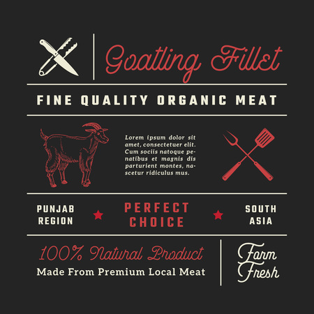 Fine Quality Goatling Fillets Restaurant Signs, Titles, Inscriptions and Menu Decoration Elements Set. Premium Quality Retro Typography Layout with Hand Drawn Icons. Vintage Goat Label Template Ilustrace