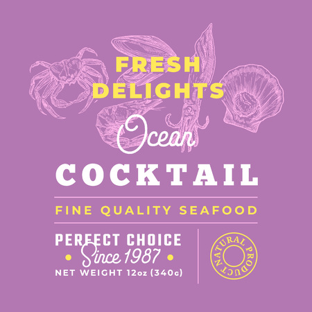 Fresh Seafood Cocktail Delights Premium Quality Label. Abstract Vector Packaging Design Layout. Retro Typography with Borders and Hand Drawn Crab, Squid, Shrimp and Molluscs Silhouettes Background