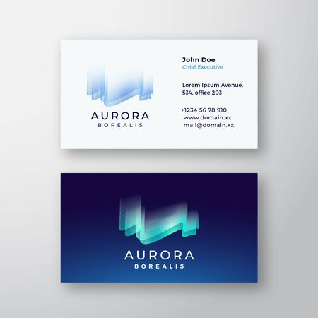 Aurora Borealis Northern Lights Abstract Vector Sign or Logo and Business Card Template. Premium Stationary Realistic Mock Up.