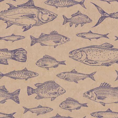 Hand Drawn Fish Vector Seamless Background Pattern. Craft Cardboard Paper Texture. Anchovy, Herrings, Tuna, Dorado, Mackerel, Seabass and Trout Sketches Card or Cover Template. Isolated. Vecteurs