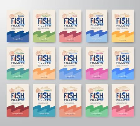 Fish Fillets Labels Big Collection. Abstract Vector Fish Packaging Design or Cards Series. Modern Typography and Hand Drawn Fishes Silhouettes Background Layout. Soft Realistic Shadows.
