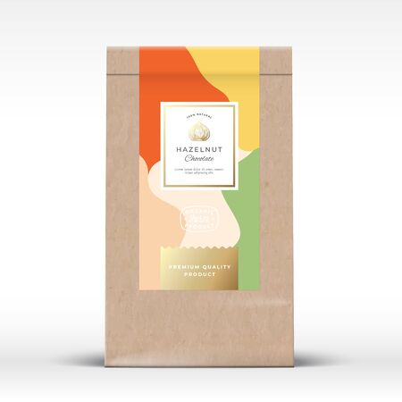 Craft Paper Bag with Hazelnut Chocolate Label. Abstract Vector Packaging Design Layout with Realistic Shadows. Modern Typography, Hand Drawn Nut Silhouette and Colorful Background.