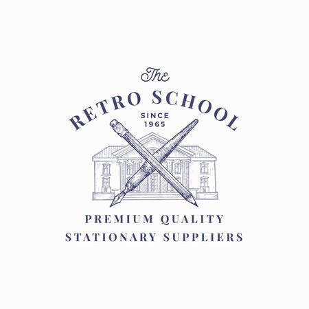 The Retro School Suppliers Abstract Vector Sign, Symbol or Logo Template. Knowledge Building with Crossed Pen and Pencil Sketch with Classy Retro Typography. Vintage Luxury Education Emblem.
