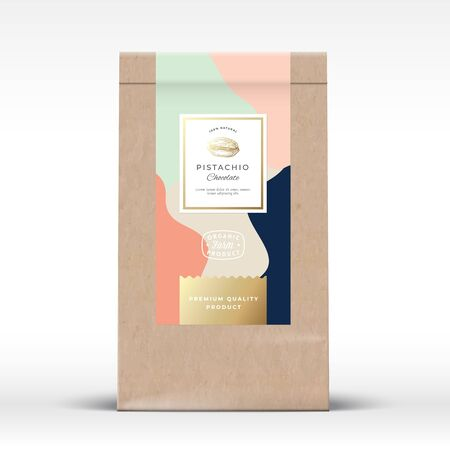 Craft Paper Bag with Pistachios Chocolate Label. Abstract Vector Packaging Design Layout with Realistic Shadows. Modern Typography, Hand Drawn Nut Silhouette and Colorful Background. Illustration