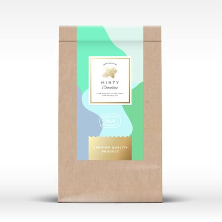 Craft Paper Bag with Minty Chocolate Label. Abstract Vector Packaging Design Layout with Realistic Shadows. Modern Typography, Hand Drawn Mint Branch Silhouette and Colorful Background.