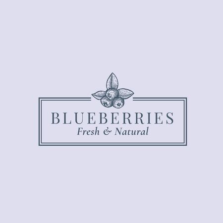 Blaubeeren abstraktes Vektorzeichen, Symbol oder Logo-Vorlage. Beeren mit Blättern Sillhouette-Skizze mit eleganter Retro-Typografie und Rahmen. Vintage-Luxus-Emblem.