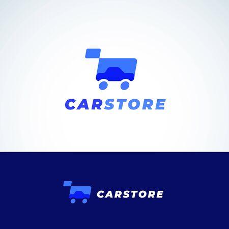 Car Store Abstract Vector Sign, symbole ou modèle de logo. Silhouette automatique et panier d'achat avec typographie moderne. Emblème des offres automobiles. Logo