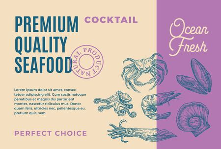 Premium Quality Seafood Cocktail. Abstract Vector Packaging Design or Label. Modern Typography and Hand Drawn Shrimp, Crab, Mussels and Octopus Silhouettes Background Layout
