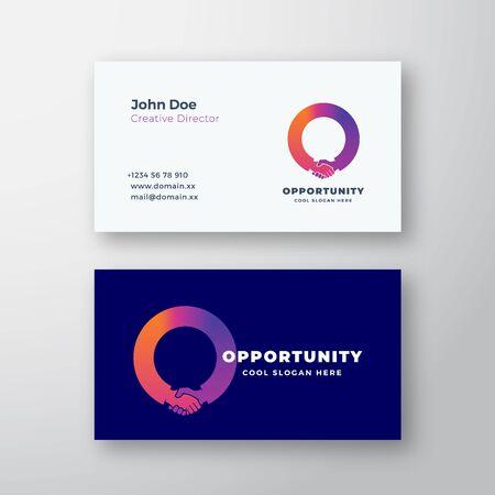 Opportunité Abstract Vector Sign ou Logo et modèle de carte de visite. Poignée de main incorporée dans le concept de la lettre O. Maquette réaliste stationnaire haut de gamme.