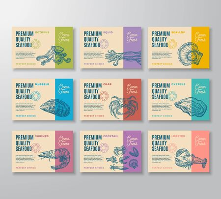 Premium Quality Seafood Labels Collection. Abstract Vector Packaging Design. Modern Typography and Hand Drawn Crab, Shrimp, Molluscs and Squid Sketch Silhouettes Background Layouts with Soft Shadows. Ilustração