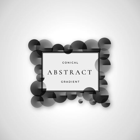 Conical Gradient Frame Abstract Vector Sign, Symbol or   Template. Black and White Circle Shapes with Retro Borders and Typography.