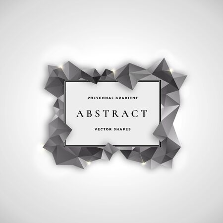 Polygonal Frame Abstract Vector Sign, Symbol or   Template. Black and White Gradient Shapes with Retro Borders and Typography, Flares and Soft Shadows. Stockfoto - 130654505