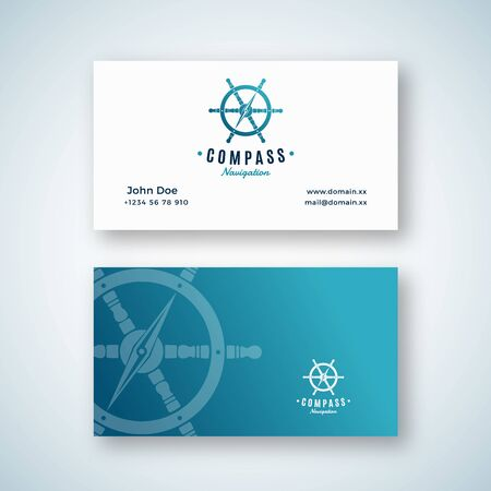 Nautical Navigation Abstract Vector Sign or  Business Card Template. Compass Arrow integrated into the Steering Wheel Symbol with Retro Typography. Premium Stationary Realistic Mock Up. Çizim