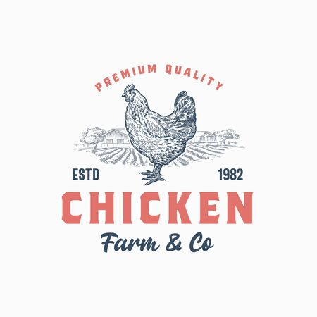 Premium Quality Chicken Farm and Company. Abstract Vector Sign, Symbol or   Template. Hand Drawn Hen Silhouette with Rural Landscape and Retro Typography. Vintage Rustic Poultry Emblem. Иллюстрация
