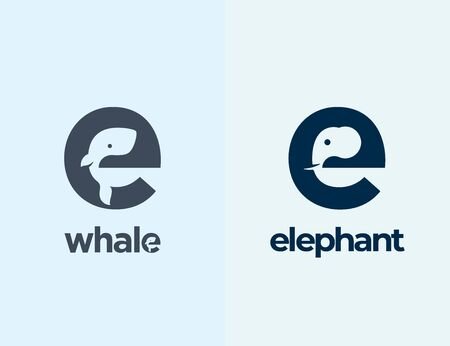 Cute Little Whale and Elephant Silhouettes Incorporated in the Letter E.