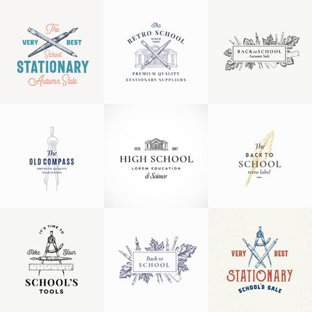 Autumn Sale Abstract Vector Sign, Symbol or   Templates Set. Retro School Building and Stationary Sketches with Classy Retro Typography. Vintage Luxury Education Emblems Collection.