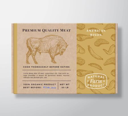 Meat Pattern Realistic Cardboard Box Container. Abstract Vector Packaging Design or Label. Modern Typography, Hand Drawn Bison Silhouette. Craft Paper Buffalo Background Layout.