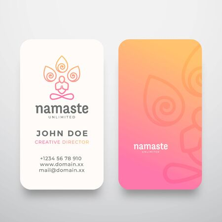 Yoga Namaste Concept and Business Card Template. Meditation or Yoga Symbol. Meditating Person Silhouette with Limitless Symbol and Typography. Stationary Realistic Mock Up.