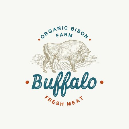 Organic Buffalo Cattle Abstract Vector Sign, Symbol or   Template. Hand Drawn Bison Silhouette and Countryside Rural Landscape Sketch with Retro Typography. Vintage Luxury Vector Emblem.