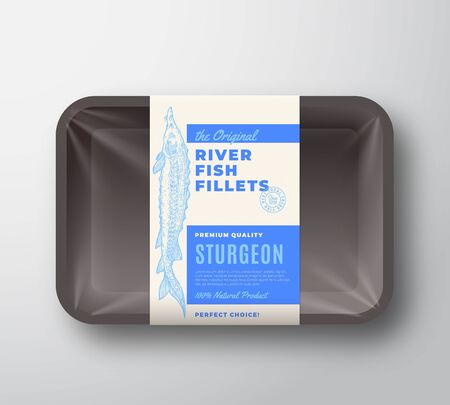 The Original Fish Fillets Abstract Vector Packaging Design Label on Plastic Tray with Cellophane Cover. Modern Typography and Hand Drawn Sturgeon Silhouette Background Layout.