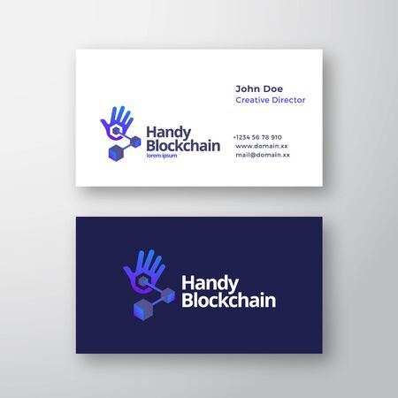 Handy Blockchain Technology Abstract Vector Logo and Business Card Template. Palm Hand with Connected Cubes Chain Gradient Icon with Modern Typography. Иллюстрация
