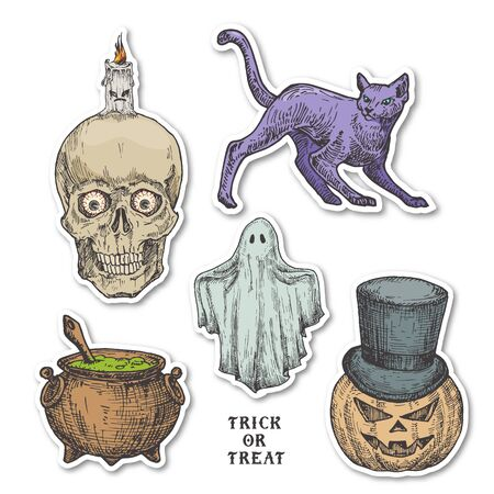 Vintage Style Halloween Stickers Set. Hand Drawn Pumpkin, Ghost, Cat, Cauldron and Scull with Candle Sketch Symbols Collection. Retro Typography. Soft Shadows.