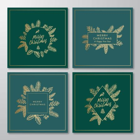Merry Christmas Abstract Botanical Cards Collection with Rectangle and Circle Frame Banners and Modern Typography. Premium Green Background and Golden Greeting Sketches Layouts Set.