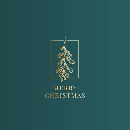 Merry Christmas Abstract Vector Classy Label, Sign or Card Template. Hand Drawn Golden Mistletoe Branch Sketch Illustration with Vintage Typography. Premium Green Background