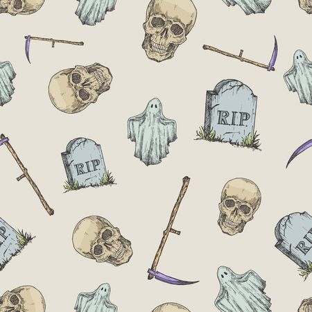 Hand Drawn Scull, Tomb Stone, Scythe and Ghost Vector Seamless Background Pattern. Halloween Celebration Greeting Sketches Card, Wrapping or Cover Template. 矢量图像
