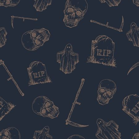 Hand Drawn Scull, Tomb Stone, Scythe and Ghost   Pattern. Halloween Celebration Greeting Sketches Card, Wrapping or Cover Template. Dark Blue Background